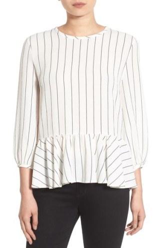 BP Stripe Ruffle Hem Shirt